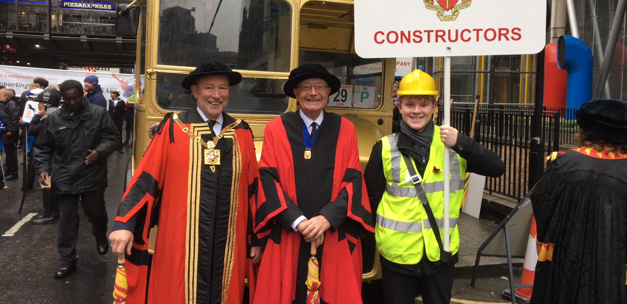 The Master And Junior Warden Together With Apprentice Jack Holmes At The 2017 Lord Mayor's Show